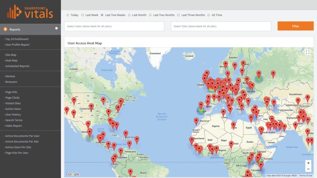 SharePointVitals_SharePoint Analytics_Heat Map