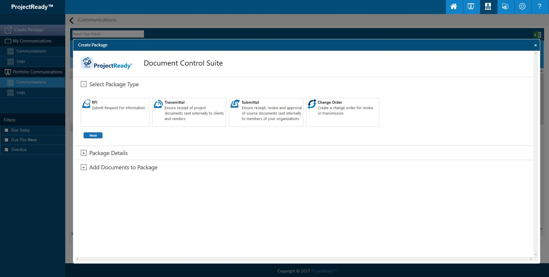 ProjectReady-Central-Screenshot-Create Document Communication